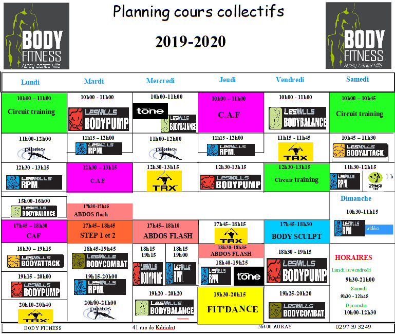 planning 2019-2020 Body Fitness Auray
